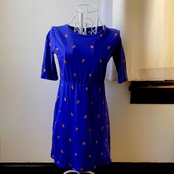 Old Navy Blue Quarter Sleeve Dress